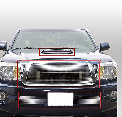 ZMAUTOPARTS Hood Scoop + Upper + Bumper Billet Grille Grill Insert Combo Set Compatible With 2005-2011 Tacoma Pickup Truck