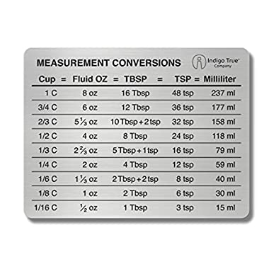 Measurement Conversion Chart Refrigerator Magnet - ORIGINAL DESIGN Stainless Steel | Conversions For Cups, Fluid Oz, Tablespoons, Teaspoons and Milliliters | Only from Indigo True Company