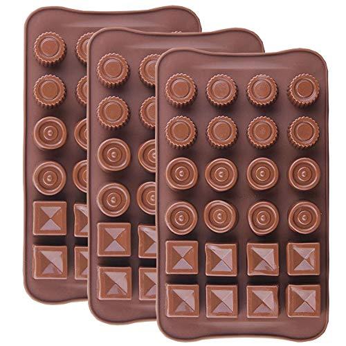 IHUIXINHE Molde de Silicona de Chocolate, Ideal para Cubos de Hielo, Cubitos de Chocolate, Repostería, Hornear, Caramelos, Dulces, Jabón, Velas, Set de 3