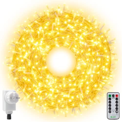 Ollny 800 LED Lichterkette 100M LED Lichterkette Außen Wasserdicht Lichterkette Strombetrieben mit Fernbedienung & Timer, 8 Modi Warmweiß Lichterkette Ourtdoor Innen für Weihnachten, Party, Hochzeit