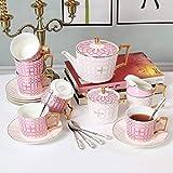 HKX Porcelain Tea Set Afternoon Tea Sets with Coffee Cup and Saucer Set Ceramic Flower Tea Afternoon Tea Tea Set Gift Box Household