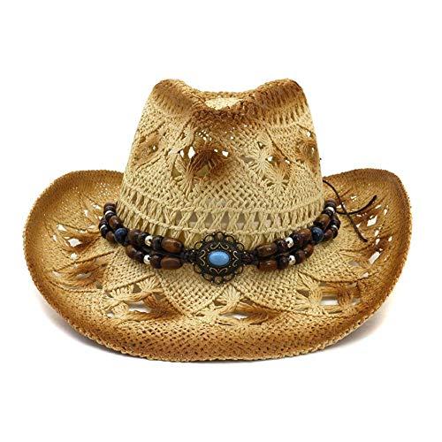 Azly-Caps Chapeaux de Cow-Boy Creux de Paille normaux, Bande de tête élastiquée intérieure, Style Vintage avec Bordure perlée,Beige