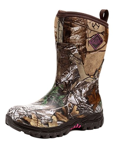 Muck Arctic Hunter Extreme Conditions Rubber Women's Hunting Boots, Bark/Realtree/Phlox Pink, 5 M US