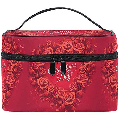 Maquillage Sac Roses Rouges Amour Coeur Sac Cosmétique Trousse de Toilette Portable Zip Brosse Sac Organisateur De Stockage