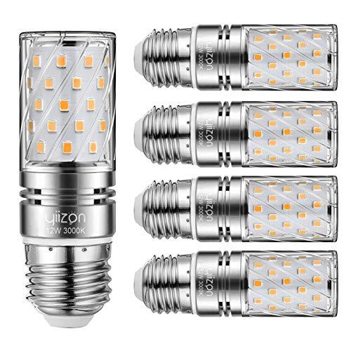Yiizon LED E27 12W lampadine a candela, 100W equivalenti a incandescenza, 3000K Bianca Calda Lampadine Candelabri E27, 1200LM, Vite Edison Lampadine Mais 5-Pacco