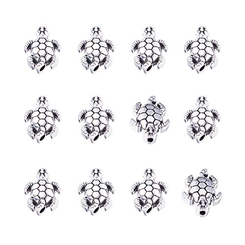 PandaHall 100pcs Schildkröte Spacer Perlen tibetische Legierung Antik Silber Tier Metall Perlen Charms für Armband Schmuckherstellung, 12.5x9mm