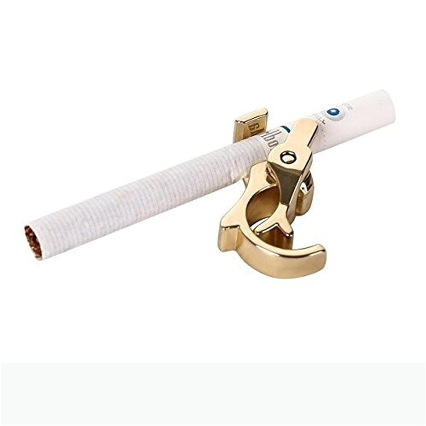 消費水銀の勉強するHKUN シガレット ラック 男女兼用 指輪型 ハンズフリー 喫煙 クリップラック 1ハンド操作 耐久性のある ,ゴールド
