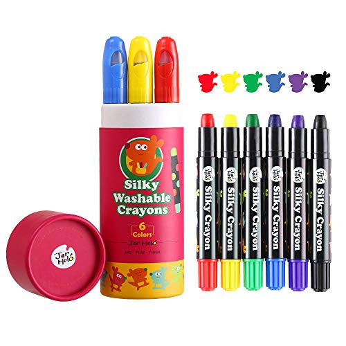 Jar Melo Toddler Silky Gel Crayons-6 Colors; Washable, Non Toxic Crayons,Jumbo Window Crayons For Kids,Assorted Colors,Art and Craft Suppliers