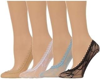 Calze donna calzini ragazza  corti pariscarpa   salvapiede in cotone lurex pizzo