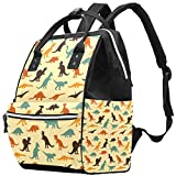 Inhomer Colored Dinosaurs Diaper Bag Travel Mom Bags Nappy Backpack Large Capacity for Baby Care