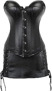 Hengzhifeng Women Corset Skirt Steampunk Faux Leather Plus Size Fiesta Party Bustiers Dress