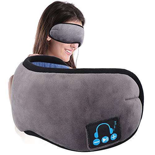 Schlafkopfhörer Blauzahn-Augenmaske, Schlafaugenmaske Musikreisen Schlaf-Headsets mit Mikrofon Freisprech-Schlaf-Augenschirmen(grau)