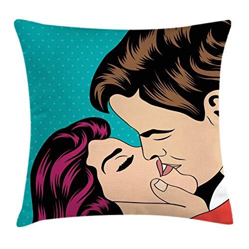 Lunarable Kiss Throw Pillow Cojín, Estilo Pop Art Besos Pareja Romántica Día de San Valentín Tema Cómic Amor y Pasión, Funda de almohada decorativa cuadrada decorativa, 45x45cm, Verde azulado pálido