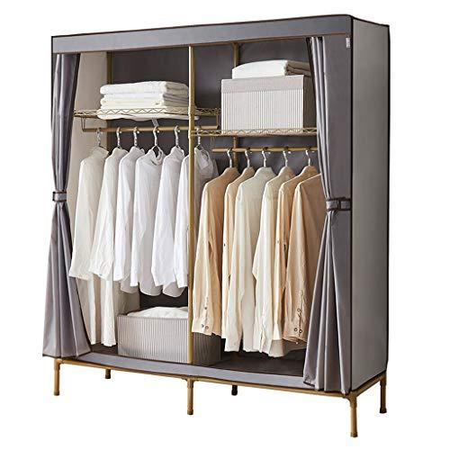 Wardrobe Oxford Cloth Convenient Wardrobe Large Double Double Hanging Rod Closet Simple Clothes Storage Cabinet Gray 157 * 45 * 173CM Wardrobe Closet (Color : Gray)