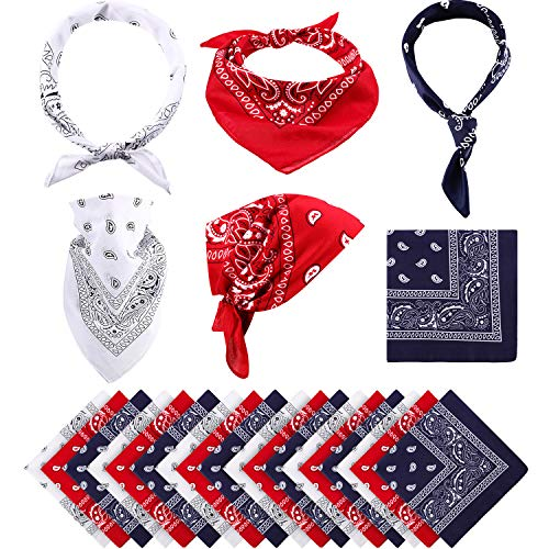 18 Pieces Paisley Bandanas Cowboy Scarf Print Head Wrap Wristband for Women Men (Red, Navy and White)