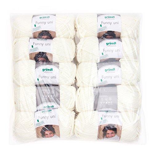 Gründl Funny Uni Wolle, 100% Polyester, Creme, 47,5 x 40 x 10 cm