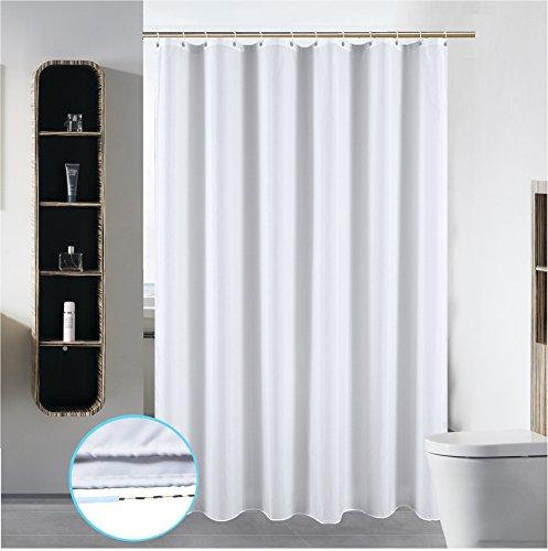 S·Lattye Duschvorhang, waschbar, aus Polyester, mit gebogenen Kunststoff-Haken, klein, reinweiß