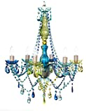 """6 Light Blue Green Hardwire Flush Mount Chandelier H26""""xW22"""", Silver Metal Frame with Blue Glass Stem and Multicolor Acrylic Crystals & Beads That Sparkle Just Like Glass"""