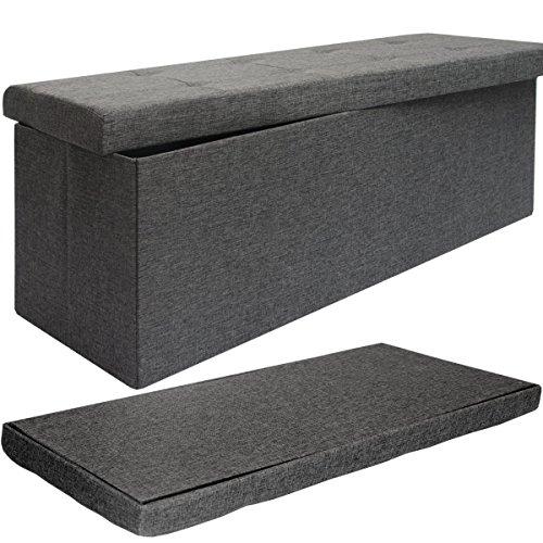 dunedesign Faltbare Sitzbank 110x38x38cm XXL Sitztruhe inkl. 2 Trennwände 120L Polsterbank Fußbank Leinen-Optik Grau - 2