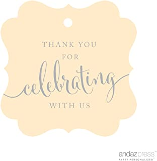 Andaz Press Fancy Frame Gift Tags, Thank You For Celebrating With Us, Ivory, 24-Pack, For Baby Bridal Wedding Shower, Kids 1st Sweet 16 Quinceanera Birthdays, Anniversary, Graduation, Baptism, Christening, Confirmation, Communion Party Favors, Gifts, Boxes, Bags, Treats and Presents