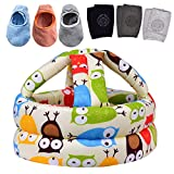 Baby Safety Helmet, Infant Baby Head Protector with 3 Pairs Baby Knee Pads for Crawling & 3 Pairs Baby Socks, Head Cushion Bumper Bonnet, Soft Headguard for Toddler Learning to Walk, Yellow Owl