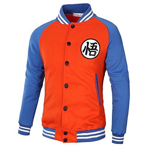 PIZZ ANNU Dragon Ball Wu Palabra de béisbol Uniforme de la Chaqueta (Naranja&Azul M)
