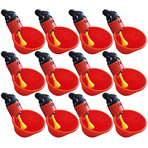 4Clovers 12pcs NO PECK Automatic Poultry Watering Drinker Cups Float Style Gravity Feed Waterers Chicks Chicken Duck Quail (Without 12pcs Connections)
