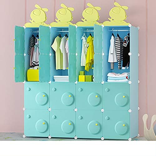 Save %31 Now! Xnxn Portable Kids Dresser Wardrobe Armoire Closet, Clothes Armoire with Hanging Rod M...