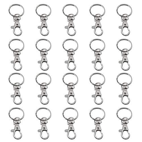 Drehverschlüsse für Schlüsselringe,20 Stück Schlüsselanhänger mit Edelstahl Schlüsselringe 38mm abnehmbare Schlüsselanhänger Haken mit 25mm Schlüsselringen für das Basteln von Schmuck Hundeleinen