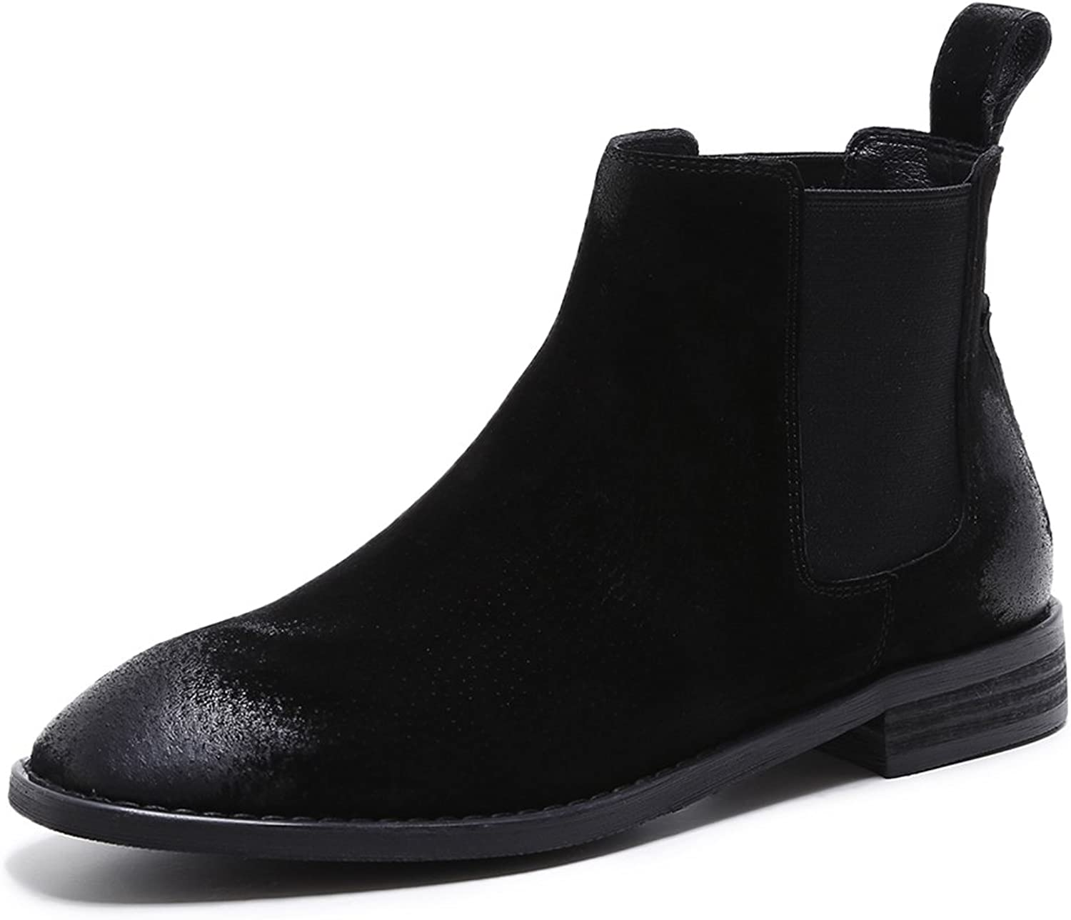 A-BUYBEA Women's Vintage Low Heel Square Toe Genuine Leather Ankle Chelsea Boots