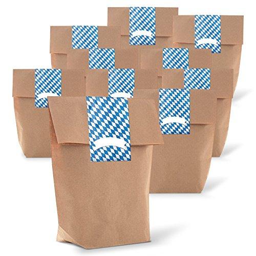 Logbuch-Verlag 25 kleine Papiertüten Bayern Deko Tischkarte Namensschild Gastgeschenk Hochzeit give-away Tüte Papierbeutel braun zum Befüllen