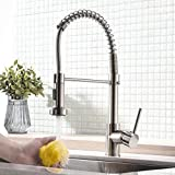 Küchenarmatur mit Brause ausziehbar - Spiralfeder Schlauch & 360° schwenkbar - matt gebürstetes...