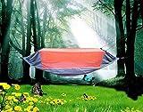 Hamaca Ligera para Exterior Interior,Carga Ultra Ligera de Portátil y Transpirable Hamacas,Hamaca mosquitera de Nylon, Hamaca paracaídas portátil-Naranja