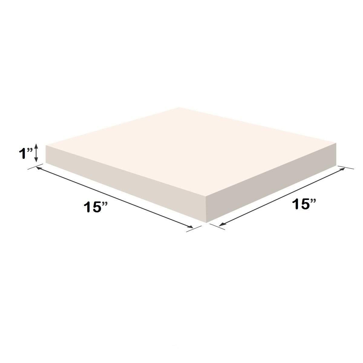 FOAMMA 1 x 18 x 18 Upholstery Foam High Density Foam Chair Cushion Square Foam for Dinning Chairs, Wheelchair Seat Cushion Replacement