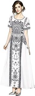 Y&D فستان طويل الرقبة المستديرة نمط الدمشقي قصير الأكمام على شكل حرف A للنساء اللون الأبيض