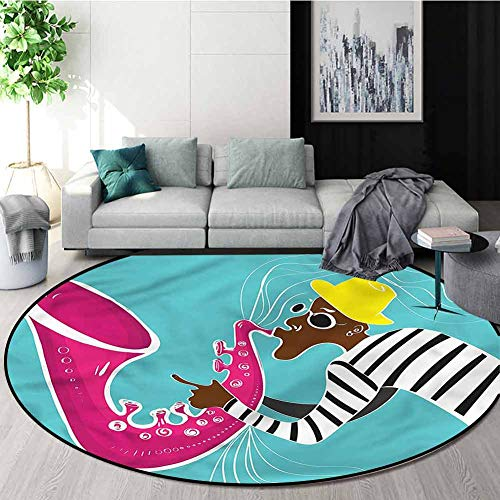 Amazing Deal RUGSMAT Vintage Modern Machine Round Bath Mat,Groovy Hippie Jazz Art Design Non-Slip Fa...