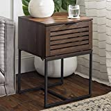 Walker Edison Modern Slatted Wood Square Side End Accent Table Living Room Storage Drawer Small End Table, 18 Inch, Dark Walnut