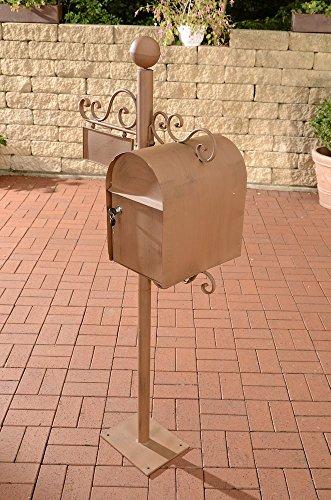 CLP Stand-Briefkasten Charlize I Antiker freistehender Briefkasten mit Namensschild I Briefkasten aus Eisen I erhältlich, Farbe:antik braun