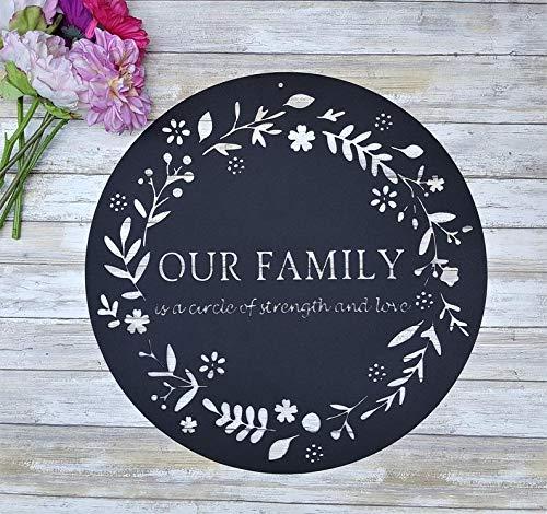 Placa de hierro, cita familiar, círculo de fuerza y amor, decoración rústica de boda, sexto aniversario de boda, citas metálicas al aire libre