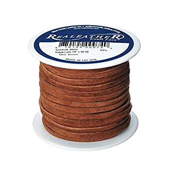 Realeather Suede Lace 1/8  x 25 yd Medium Brown
