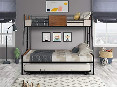 JIAYOUNG Bunk Bed Twin Over Full Metal Size Bed with Twin Trundle Two-Side Ladders and Safety Guardrail for Kids Adults Brown