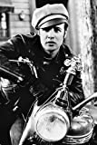 Marlon Brando as Johnny in The Wild One 24x36 Poster in leather jacket & cap on Matchless 600 motorbike