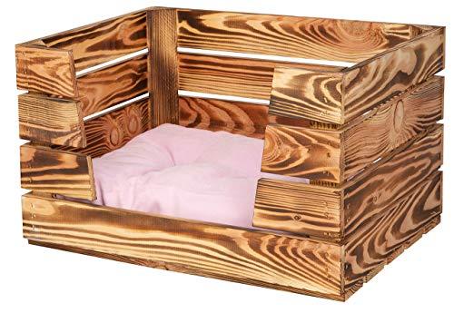 Moooble 1x mittelgroße, geflammte Holzkiste   Neu   80x60x45 cm   Hundebett, Hundesofa, Hundekorb mit dickem Kissen und gemütlichen Einstieg