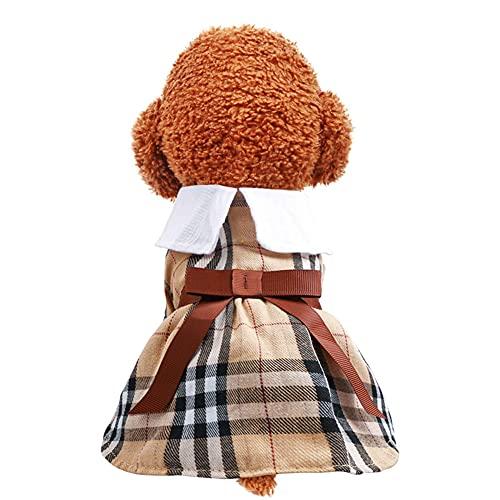 Csheng Ropa para Perros Disfraz para Perros Ropa para Cachorros Ropa para Mascotas Ropa para Gatos Ropa De Primavera Y Verano para Perros Color Caf Falda con Lazo para Varias Ocasiones Large