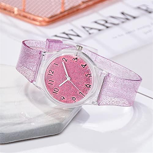 Relojes Moda Mujer Niñas Verano Fresco Plástico Dial Correa Color Tendencia Verano Relojes De Cuarzo Damas Chicas Reloj Regalo PK