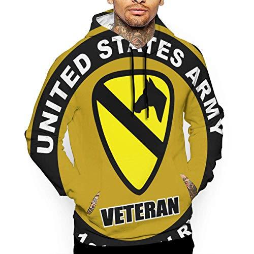 Ksiwre Sudadera con Capucha United States Army Veteran 1st Cavalry Men's 3D Pullover,Long Sleeve Hoodies,Sweatshirt Tops