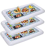 Inflatable Serving Bars with Drain Plug (3 Sets), Inflatable Cooler Ice Buffet Salad Serving Trays...