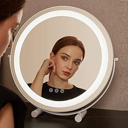JXCAA Espejo De Mesa con Luz LED, Espejo Cosmético Giratorio 360 °, Tocador Espejo De Maquillaje Redondo,Espejo De Maquillaje con Luz Led De Escritorio, Interruptor Táctil, Negro, Dorado, 30 * 32 Cm