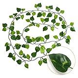 Gxhong 12 Stück Efeu Künstlich Efeu Hängend Girlande, Künstliche Pflanzen Scindapsus Girlande, Künstliches Efeu Hochzeit für Büro, Küche, Garten, Party Wanddekoration …