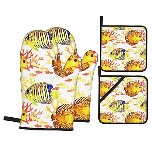 Bokueay Juegos de agarraderas y Manoplas para Horno Tropic Fishes Kitchen Glove and Pot Holder Sets of 4 Funny Non-Slip Baking Gloves and Pot Holder for Cooking BBQ Grilling